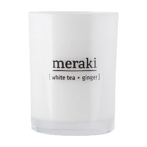 Merakai Large White Tea and Ginger Scented Candle: The luxurious uplifting fragrance of the Meraki White Tea and Ginger scented candle is irresistible. Made from soya bean oil and fragranced with essential oils the Meraki Fresh White tea and Ginger candle is part of a lifestyle and skincare Danish brand aimed at satisfying both body and soul. These candles are 100% natural and emit far less soot than a regular candle. Inspired by Scandanavian aesthetic Meraki products have a clean, minimal…