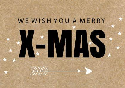 Hippe en moderne typografische kerstkaart met kraftprint, verkrijgbaar bij #kaartje2go voor € 0,99