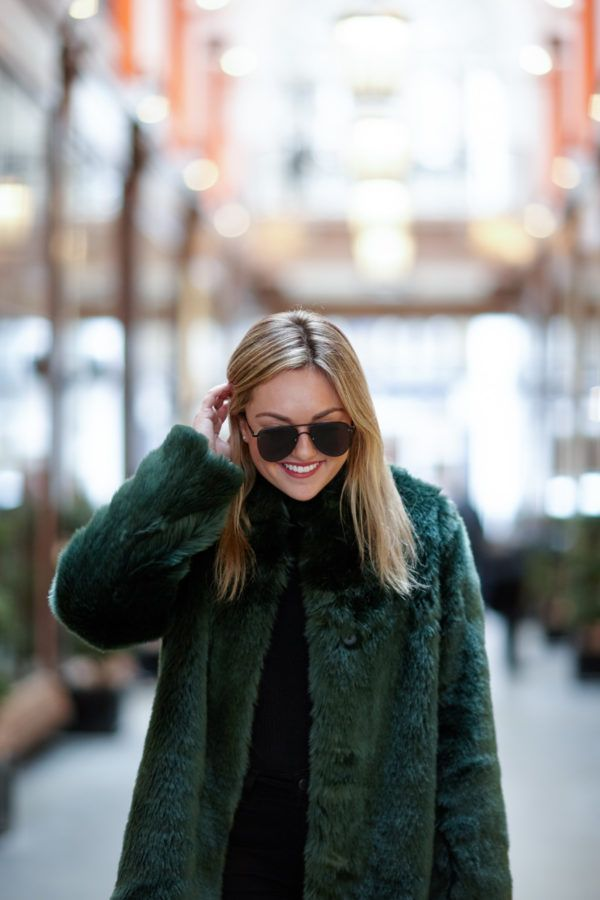 Matte Black Aviators + Green Faux Fur Coat | bows & sequins
