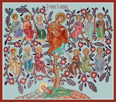 "The Tree of Jesse  This icon depicts the many prophecies of the Virgin birth of Christ. St. Daniel (Daniel 2:45); St. Moses ( Exodus 3:2-4); St. David, (Psalm 132:8); St. Isaiah (Isaiah 6:6); St. Jeremiah."" (Baruch 3:37); St. Samuel (2 Samuel 7:13-16),  St. Habakkuk (Habakkuk 3:3); St. Micah, (Micah 1:9); St. Gideon(Judges 6:37-38); St. Ezekiel (Ezekiel 44:2); St. Amos (Amos 9:11); Prophet Balaam (Numbers 24) Romans 15:12:"