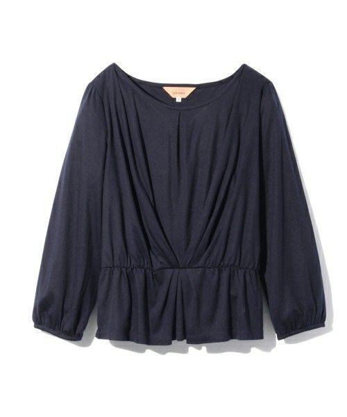 Sunauna(スーナウーナ)のテンセルペプラムカットソー(Tシャツ/カットソー) ブルー