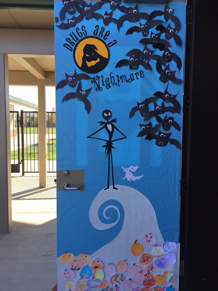 Halloween Red Ribbon Week Door Nightmare Before Christmas