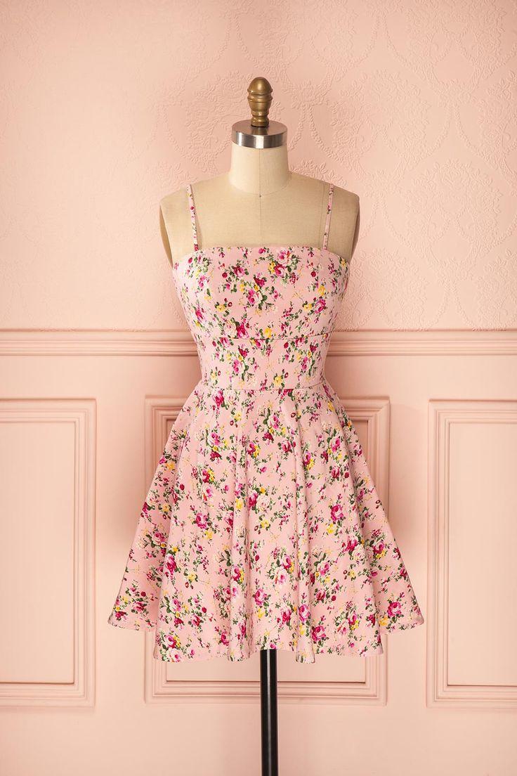 Robe sans manches rose à imprimé fleurs - Sleeveless pink floral dress
