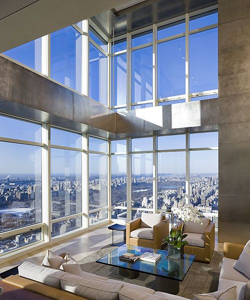 Double Height Floor Living Room Design High End Penthouse Duplex Apartment On Top Of Bloomberg Tower Manhattan New York