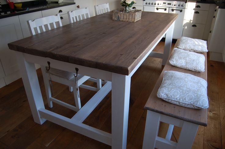 """landelijke / brocante eettafel kloostertafel model  """"Luik"""" van  Iron and Wood Bemmel www.ironandwood.nl"""