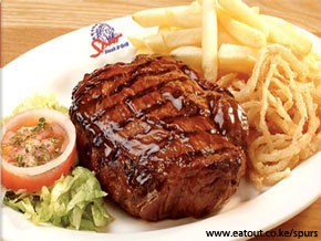 GOLDEN SPUR STEAK & GRILL- Average cost Ksh. 1500 ( Per person, 2 courses, excl. drinks )Offers customers a casual dining experience in a comfortable, friendly environment. Our customers can always expect generous portions of great tasting food as well as quality and value for money with every visit.