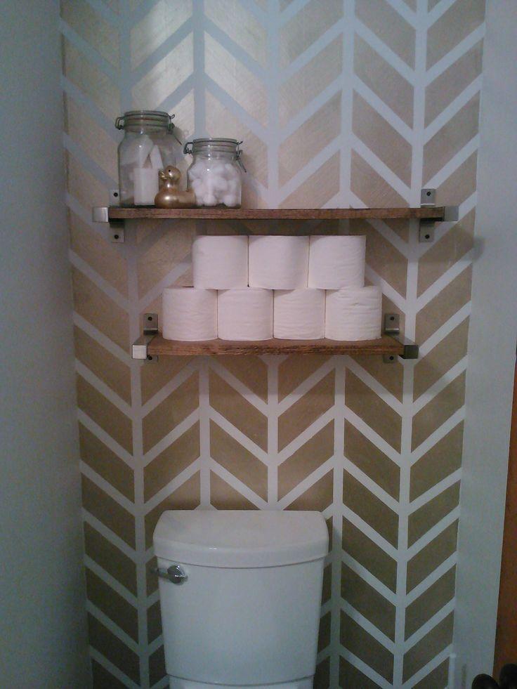 gold Chevron/herringbone accent  wall, chevron wall, stripes, herringbone, - Powder Room!