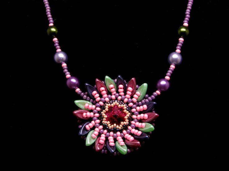 Glass Necklaces – Multicoloured sunflower necklace- pink tone – a unique product by DarkEyedJewels on DaWanda