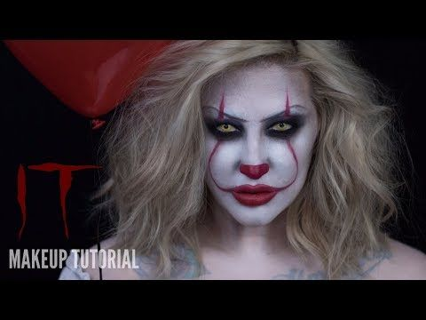EASY 'PENNYWISE' CLOWN | IT MOVIE HALLOWEEN MAKEUP TUTORIAL | RhiannonClaire - YouTube