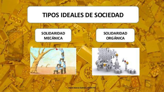 David Alonso Galindo 1ASIR FOL TIPOS IDEALES DE SOCIEDAD SOLIDARIDAD MECÁNICA SOLIDARIDAD ORGÁNICA