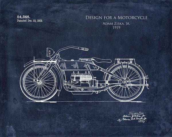 94 best blueprints images on pinterest blueprint art art print 1919 motorcycle patent art print art print by sara h malvernweather Gallery
