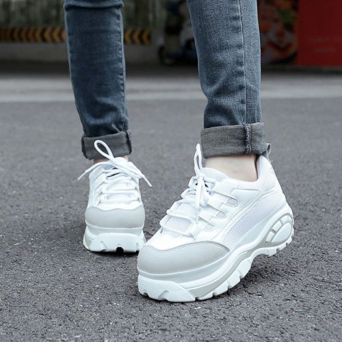 Platform Sneakers w/Studs White Leatherette Street Chic Style Laceup Women Shoes