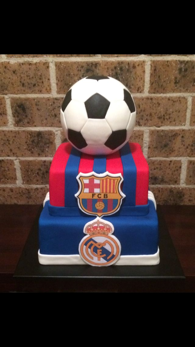 3 Tier soccer ball cake. El Clasico Real Madrid & Barcelona cake. Made by Petals, Lace & Cake www.petalslaceandcake.net