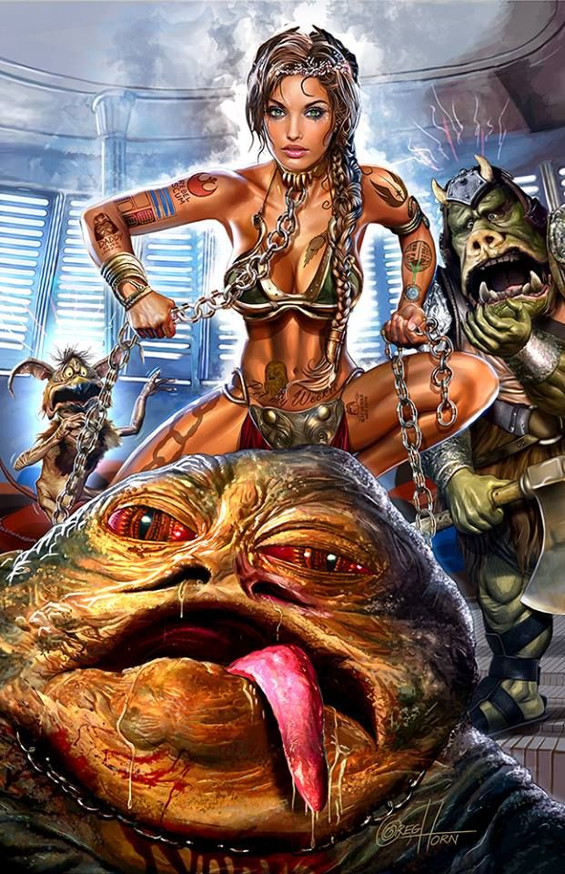 Star Wars - Leia and Jabba by Greg Horn *