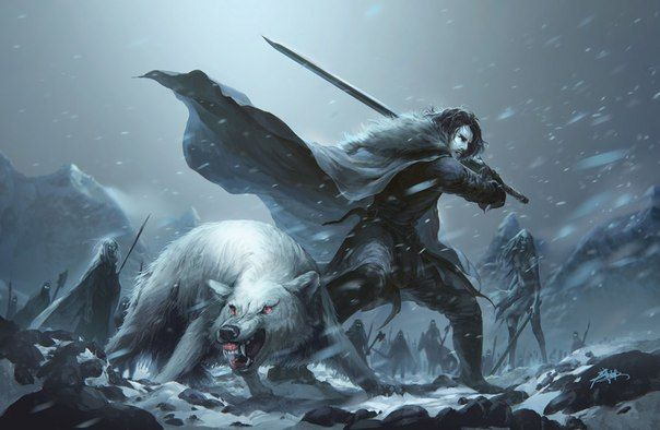 Game of Thrones - Jon Snow and Ghost. Description from pinterest.com. I searched for this on bing.com/images