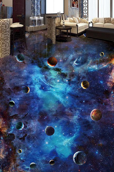 Revêtement de sol 3D trompe l'œil univers - Les planètes et les étoiles