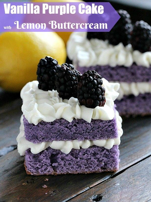 Vanilla Purple Cake with Lemon Buttercream is cut into mini individual cakes decorated with fresh blackberries, for a beautiful and tasty dessert.