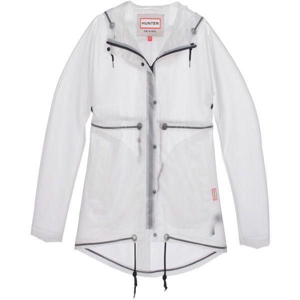 HUNTER Original Clear Smock Desert White // Transparent rain coat (1.845 NOK) ❤ liked on Polyvore featuring outerwear, coats, hooded rain coat, waterproof coat, white raincoat, rain coat и transparent rain coat