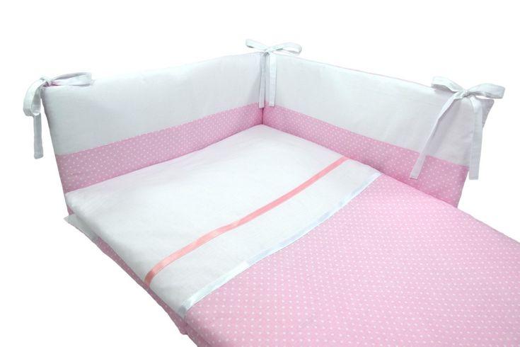 Parure de lit bébé en blanc et rose à pois