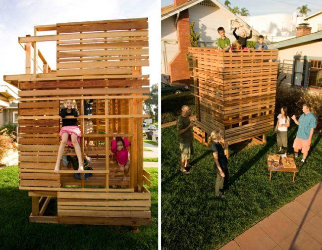 Nice Spielhaus Garten Holz Konstruktion selber bauen Ideen
