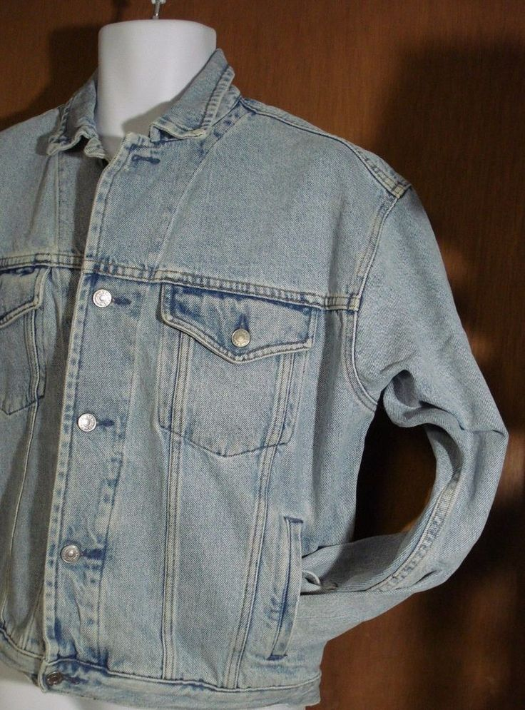 Vintage Gap Men's Light Stone Wash Jean Jacket Size Medium Distressed Denim #Gap #JeanJacket #Casual