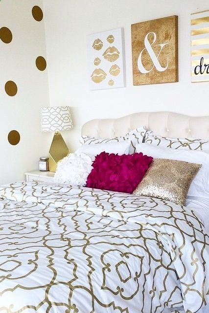 For the glam girl: Gold embellished quatrefoil bedding looks right at home with the gold wall art and polka-dot wall!
