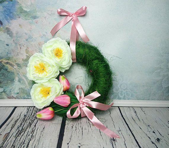 Green pink tulips cream peony front door floral wreath Easter