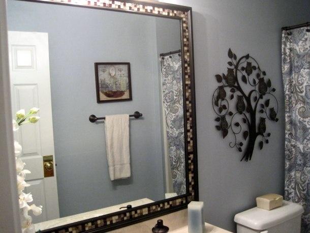Diy Frame Mirror With Trim And Tile Diy Pinterest Diy Frame Frame Mirrors And Bath