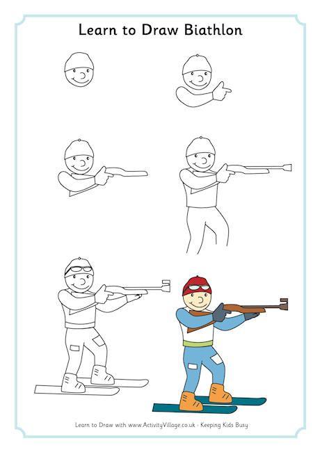 Étapes pour dessiner la personne qui fait le biathlon.