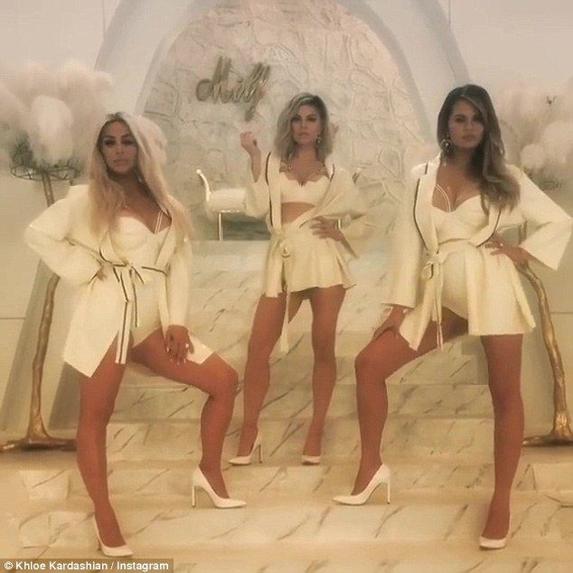 White hot!Khloe also shared with her fans a clip from Fergie's newly released MILF $ music video featuring her sister Kim Kardashian, along with Chrissy Teigen and the songbird herself