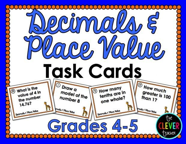 32 Decimals and Place Value Task Cards: These task cards are a great way for students to demonstrate their knowledge of decimal place value (5.NBT.1). You can use these in math centers, to play SCOOT!, as a review, and more!