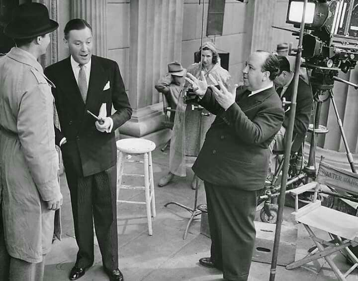Alfred Hitchcock directs Joel McCrea and Herbert Marshall  Foreign Correspondent 1940