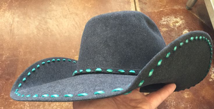 Greeley Hat Works Competitor Midnight with J-Arvis Turqoise Leather lacing! Wear your #HATitude™ Http://www.greeleyhatworks.com