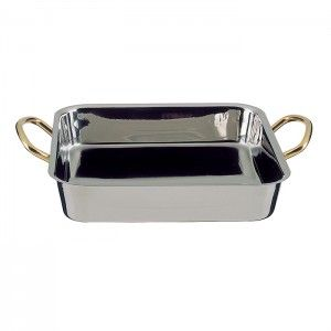Square Flat Bottom Stainless Steel Dish by Stellinox - France
