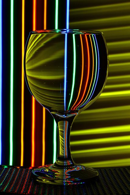 The lines change when reflected through the glass and the colour helps it to stand out