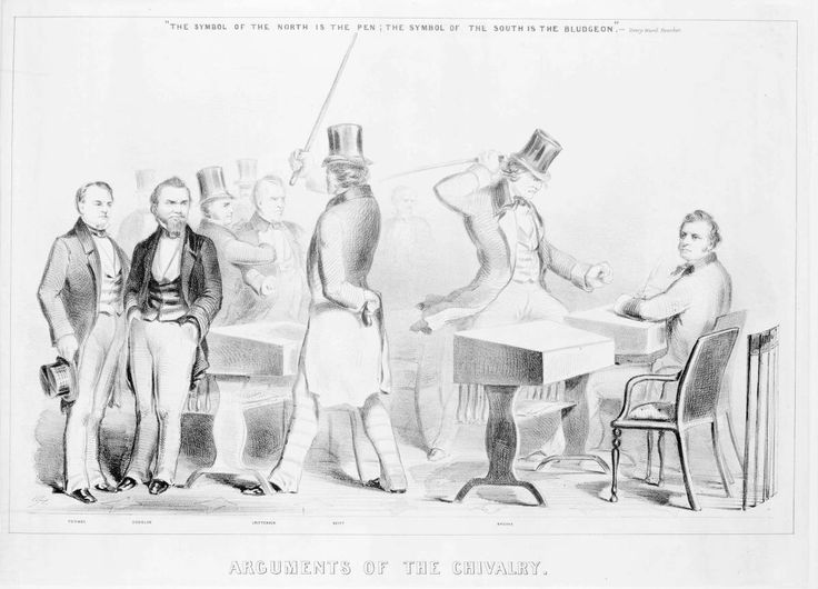 (1856) A dramatic portrayal of the caning of Charles Sumner in Congress, which inflamed sectional passions in 1856.  From left to right - Robert Toombs, Stephen Douglas, an unidentified man, John J. Crittenden, Lawrence M. Keitt, Preston Brooks, and Sumner. (Currier & Ives)