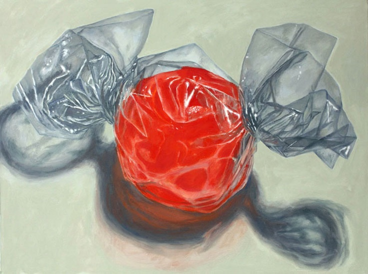 "Douglas Newton: Red Alone, Oil on canvas, 18""x 24"" -- Candy Series Paintinsg"