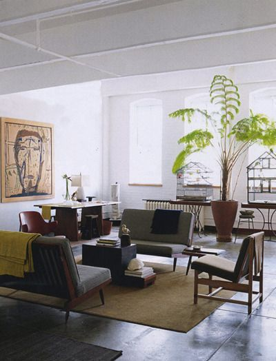 Light And Open Mid Century Modern Living Room. This Is MY Favorite Style.  Love Seeing The Light Under The Funiture!