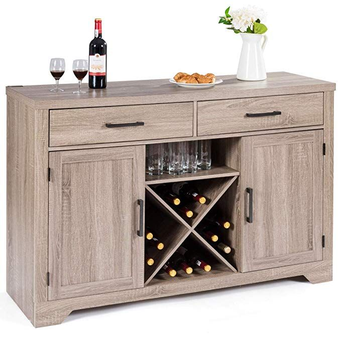 Amazon Com Giantex Buffet Cabinet Sideboard With Two Drawers Two Cabinets One Shelf And 4 Bottle Wine Rack Sideboard Cabinet Sideboard Console Buffet Cabinet