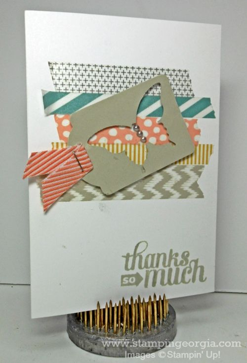 Quick & Easy Washi Tape background for cards . . . details on my blog! www.stampingeorgia.com