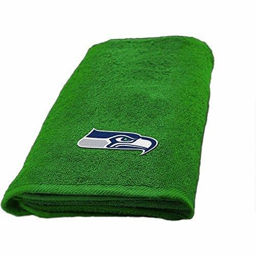 NFL Seahawks Hand Towel 26 X 15 Football Themed Applique Sports Patterned Team Logo Fan Merchandise Athletic Spirit Blue Bright Green Silver Polyester