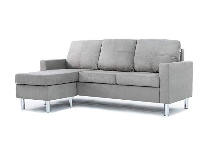 Amazon Com Divano Roma Furniture Modern Microfiber Sectional Sofa Small Space Configur Sofas For Small Spaces Microfiber Sectional Sofa Small Sectional Sofa