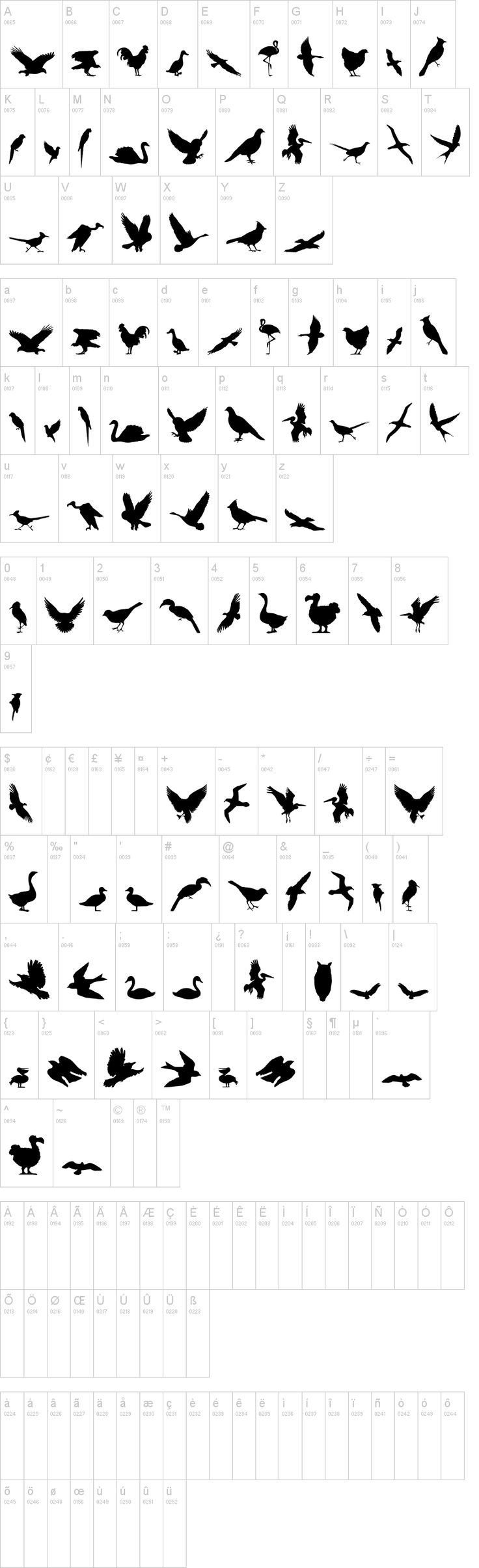 Birds of a Feather dingbat set by Iconian Fonts, download via dafont.com is free for personal use.