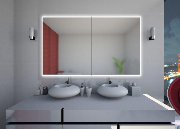 Großer badezimmerspiegel ~ Elegantes schlafzimmer weißes bett grauweiße wandfarbe großer