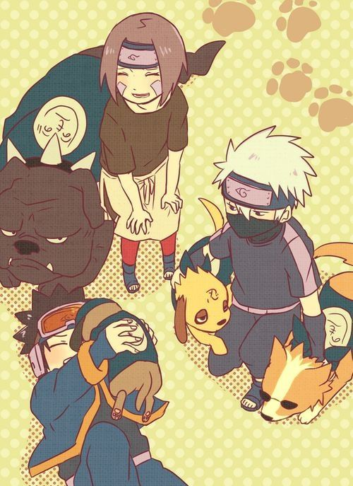 Obito, kakashi and Rin <<< Don't forget the dogs! Pakkun, Bull, Bisuke, and Akino. Yes, I am that big of a Kakashi fan that I know all his dogs names.