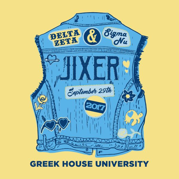 Design Gallery | Greek House: Custom Apparel For Sororities & Fraternities | Jeans Social Event | Delta Zeta | Sigma Nu | Greek House t shirts for greek apparel