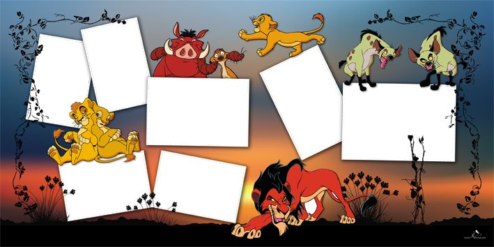 Plantilla Cartoons 29x58 para la Creación de Foto Libros - Fondo The Lion King: Imagen Fondo The Lion King. Dispone de siete casillas para insertar fotografías.