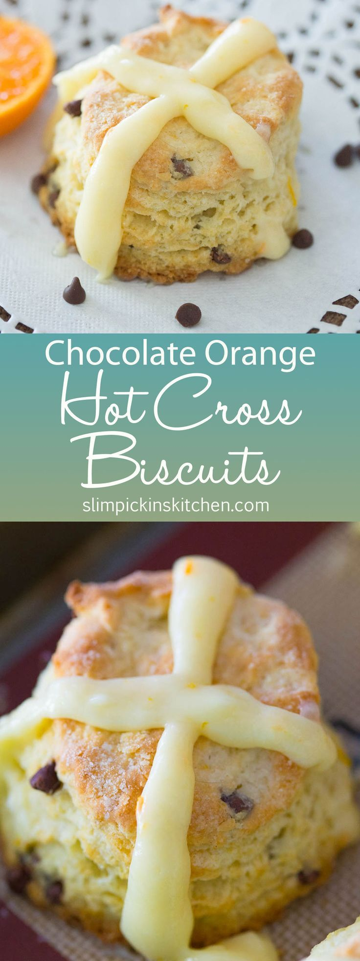 Chocolate Orange Hot Cross Biscuits are a southern take on the classic hot cross buns served on Good Friday. Made without yeast and easily pulled together in ten minutes or less, these chocolate orange biscuits will become a staple for Easter brunch!