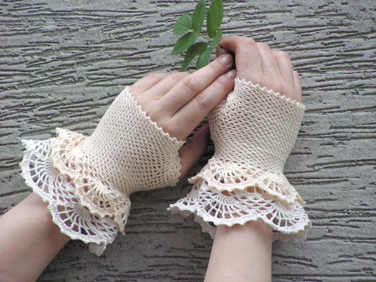 Eleni - crocheted open work layered bridal wedding rustic mittens wrist warmers cuffs.