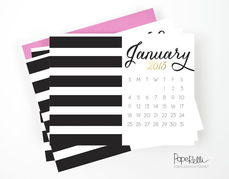 Free Printable 2015 Calendar from Classy Clutter. Get more 2015 calendars here: http://www.pinterest.com/hre/2015-free-printables/